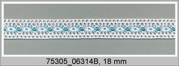 Paličkovaná vsadka 75305 bavlněná, šířka18mm, bílá/tyrkysová