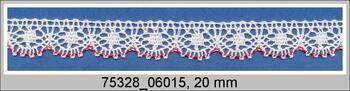 Cotton bobbin lace 75328, width 20 mm, white/light red