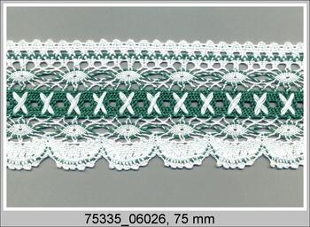 Paličkovaná krajka 75335 bavlněná, šířka75 mm, bílá/sv.zelená