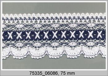 Paličkovaná krajka 75335 bavlněná, šířka75 mm, bílá/mořská modrá