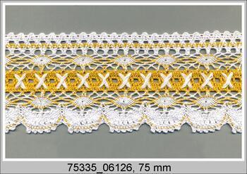 Cotton bobbin lace 75335, width 75 mm, white/dark yellow