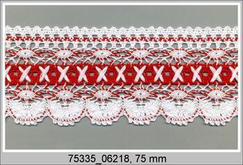 Paličkovaná krajka 75335 bavlněná, šířka75 mm, bílá/brusinková