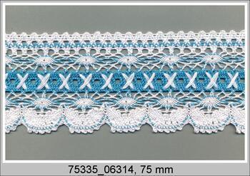 Cotton bobbin lace 75335, width 75 mm, white/turquoise