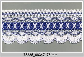Paličkovaná krajka 75335 bavlněná, šířka75 mm, bílá/modročerná