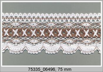 Paličkovaná krajka 75335 bavlněná, šířka75 mm, bílá/tm.béžová