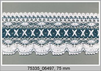 Cotton bobbin lace 75335, width 75 mm, white/aquamarine