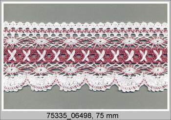 Cotton bobbin lace 75335, width 75 mm, white/pink