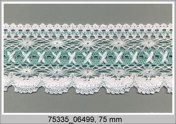 Paličkovaná krajka 75335 bavlněná, šířka75 mm, bílá/zel.vodní