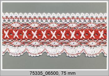 Paličkovaná krajka 75335 bavlněná, šířka75 mm, bílá/sv.červená korál.