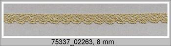 Paličkovaná krajka 75337 metalická, šířka8 mm, Lurex zlatý antik