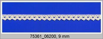 Paličkovaná krajka 75361 bavlněná, šířka9 mm, režná BD