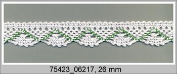 Paličkovaná krajka 75423 bavlněná, šířka26 mm, bílá/trávová zelená