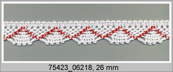 Paličkovaná krajka 75423 bavlněná, šířka26 mm, bílá/červená