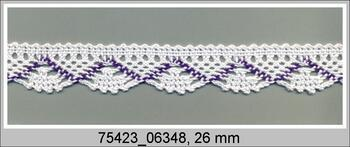 Paličkovaná krajka 75423 bavlněná, šířka26 mm, bílá/purpurová