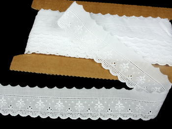 Embroidery lace No. 65119 white | 9,2 m - 1