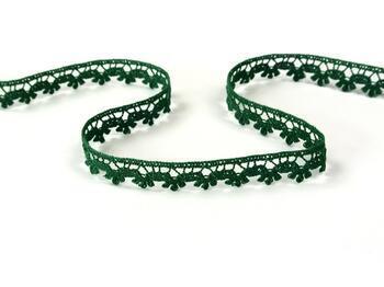 Cotton bobbin lace 73010, width 13 mm, dark green - 1