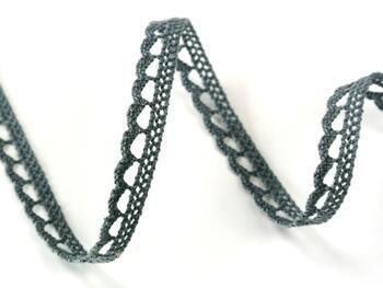 Cotton bobbin lace 73012, width 10 mm, gray - 1