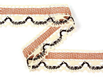 Bobbin lace No. 75005 ecru/terracotta/dark brown | 30 m - 1