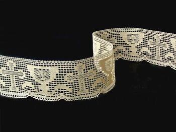 Cotton bobbin lace 75017, width48mm, ecru - 1