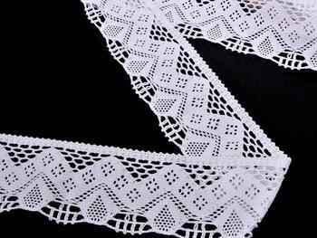 Cotton bobbin lace 75021, width73mm, white - 1