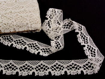 Paličkovaná krajka 75022 bavlněná, šířka45mm, slonová kost - 1