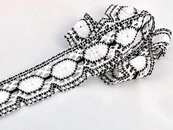 Paličkovaná krajka vzor 75032 bílá/černá | 30 m