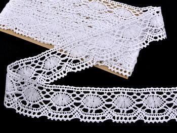Paličkovaná krajka 75032 bavlněná, šířka45mm, bílá - 1