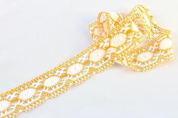 Paličkovaná krajka 75032 bavlněná, šířka45mm, bílá/tm.žlutá - 1