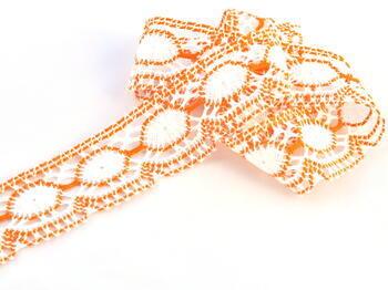 Paličkovaná krajka 75032 bavlněná, šířka45mm, bílá/oranžová - 1