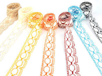 Cotton bobbin lace 75032, width45 mm, white/red