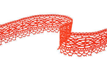Cotton bobbin lace 75037, width57mm, red - 1