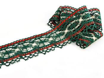 Paličkovaná krajka 75037 bavlněná, šířka57mm, zelená/červená/lněná