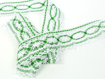 Paličkovaná krajka vzor 75037 bílá/trávová zelená |  30 m - 1