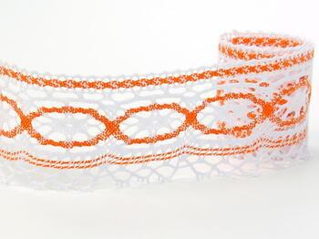 Paličkovaná krajka 75037 bavlněná, šířka57mm, bílá/oranžová - 1