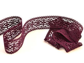 Paličkovaná vsadka 75038 bavlněná, šířka52mm, fialová
