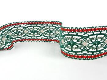 Cotton bobbin lace insert 75038, width52mm, dark green/red/light linen - 1