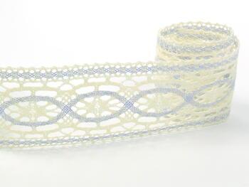 Cotton bobbin lace insert 75038, width52mm, light cream/light blue - 1