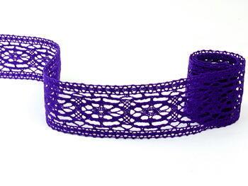 Paličkovaná vsadka 75038 bavlněná, šířka52mm, purpurová/fialová - 1