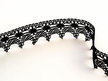 Paličkovaná krajka vzor 75041 černá | 30 m