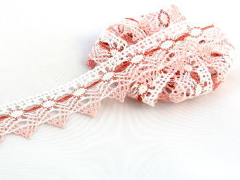 Cotton bobbin lace 75041, width40mm, white/pink/rose
