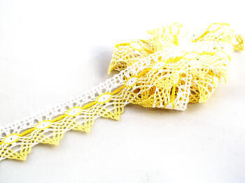 Cotton bobbin lace 75041, width40mm, white/yellow/light yellow - 1