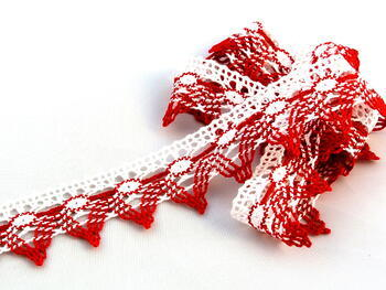 Cotton bobbin lace 75041, width40mm, white/light red