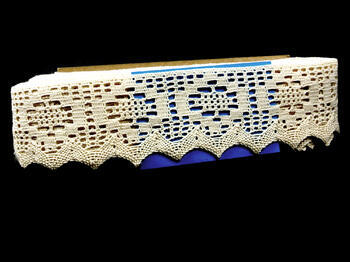 Cotton bobbin lace 75059, width 81 mm, ecru - 1
