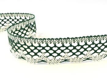 Paličkovaná krajka vzor 75067 bílá/tmavě zelená   30 m - 1