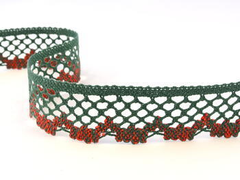 Bobbin lace No. 75067 light red/dark green   30 m - 1