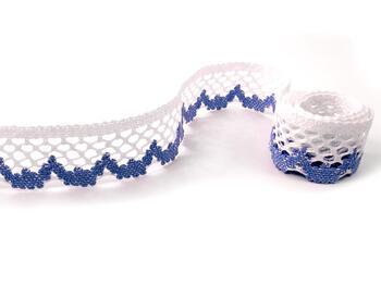Paličkovaná krajka vzor 75067 bílá/blankytně modrá | 30 m - 1