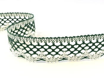 Paličkovaná krajka 75067 bavlněná, šířka47mm, tm.zelená/bílá