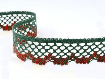 Paličkovaná krajka 75067 bavlněná, šířka47mm, tm.zelená/sv.červená - 1