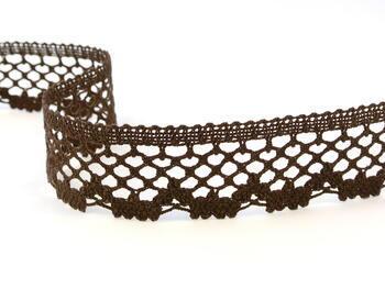 Cotton bobbin lace 75067, width 47 mm, dark brown