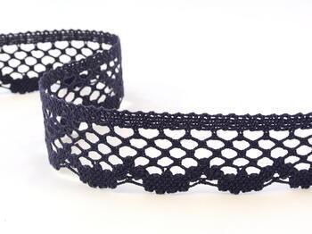 Cotton bobbin lace 75067, width 47 mm, dark blue - 1